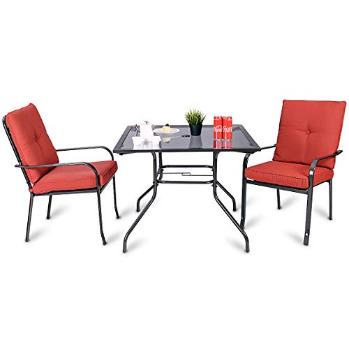 Giantex 3 Pcs Patio Outdoor Garden Dining Set Glass Table & 2 Upholstered Chairs Porch W/Solid Steel Frame for Garden Pool Yard (3 Piece Set) Review