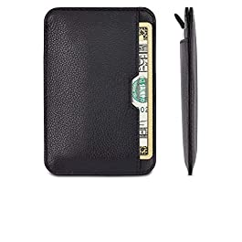 Chelsea Slim Card Sleeve Men's Wallet with RFID Protection by Vaultskin – Top Quality Italian Leather – Ultra Thin Card Holder Design For Up To 10 Cards (Black)