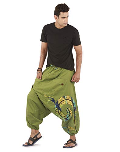 - Mens Boho Hippie Cotton Baggy Wide Leg Handmade Harem Pants - Patchwork Design (Green)