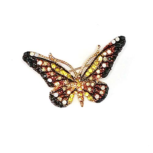 - Monarch Butterfly Golden Crystal Pin