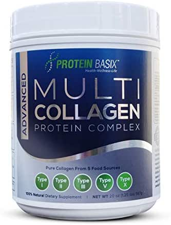 Advanced Multi Collagen Protein Complex (63 Servings), Premium Blend of Hydrolyzed Collagen Type I, II, III, V & X for Youthful, Radiant, Skin, Hair & Nails Plus Joint Support - Unflavored