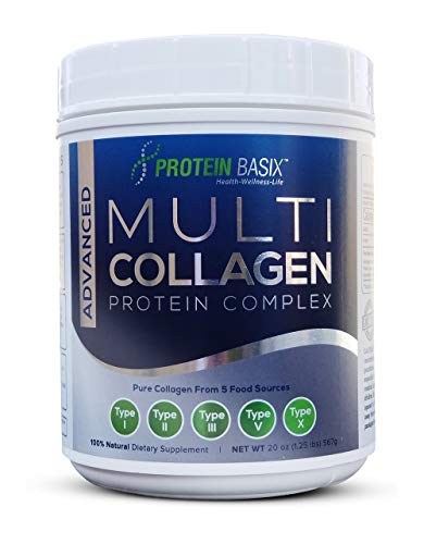Advanced Multi Collagen Protein Complex (63 Servings - 9 Grams), Premium Blend of Hydrolyzed Collagen Type I, II, III, V & X for Youthful, Radiant, Skin, Hair & Nails Plus Joint Support - Unflavored ()