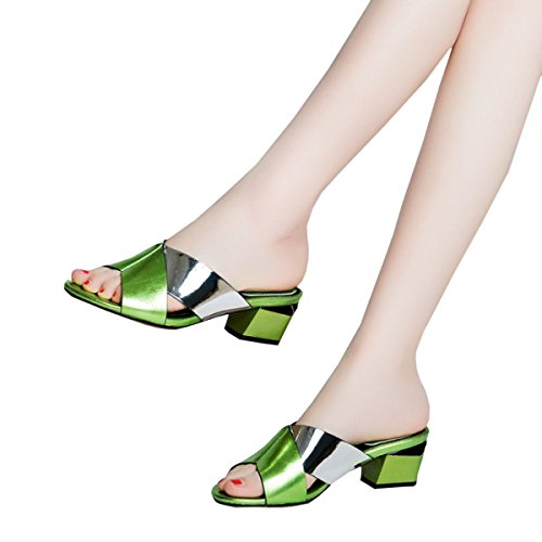 Women's Thick For Slippers Women's Cool Leather With Sandals And Autumn Shoes With Dfb Fight 39 Color Slippers Green Spring Women wYCatt