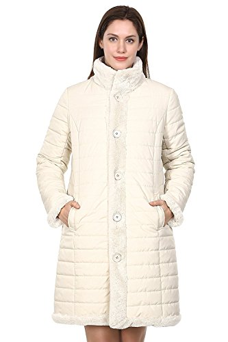 Adelaqueen Clearance Women's Beige Winter Reversible Down Coat Fabulous Faux Fur Coat Size (Free Coat Patterns)