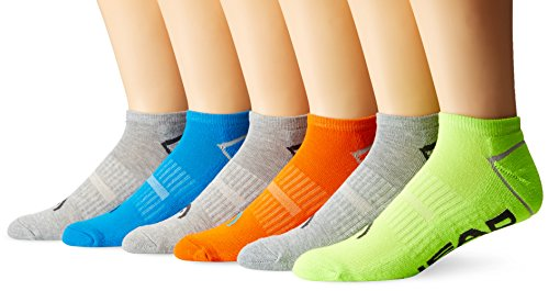 Head Mens Sport No-Show Socks, Assorted Color, Fits Sock Sizes 10-13, 6-pack, 1619gi