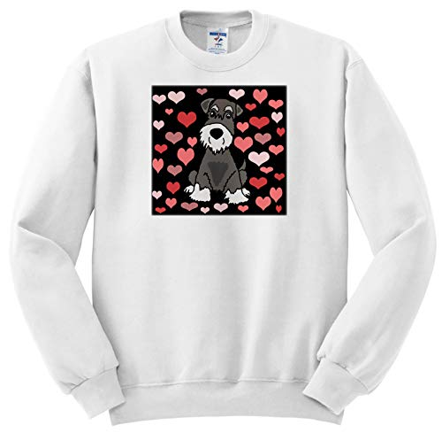 (All Smiles Art - Pets - Funny Cute Miniature Schnauzer Dog Heart Pattern Abstract Art - Sweatshirts - Youth Sweatshirt Med(10-12) (ss_295214_11))