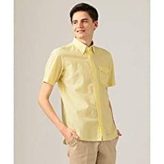 J. Press Seersucker Stripe Short Sleeve Button Down Shirt with Flap Pocket HHOVKM0417: Yellow