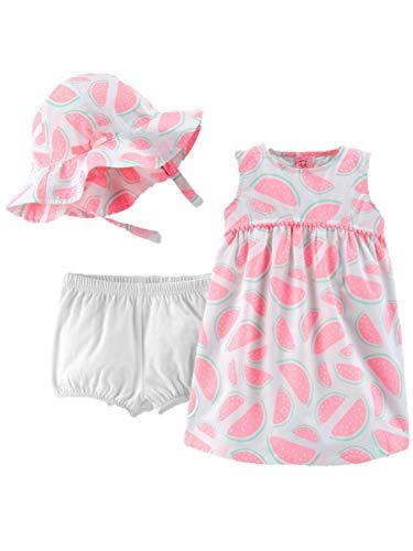 Carter's Infant Girls Baby Outfit Pink Watermelon Sun Dress & Bucket Hat Set - Girls Sunsuit Infant Carters