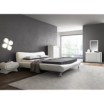 Amazon Com Contemporary White Faux Leather Platform Bed