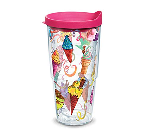 Tervis 1287596 Ice Cream Cones Insulated Tumbler with Wrap and Fuschia Lid, 24oz, Clear