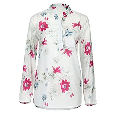 iDWZA Womens Casual Chiffon Floral Print Long Sleeve Button Blouse Pullover Tops T Shirt