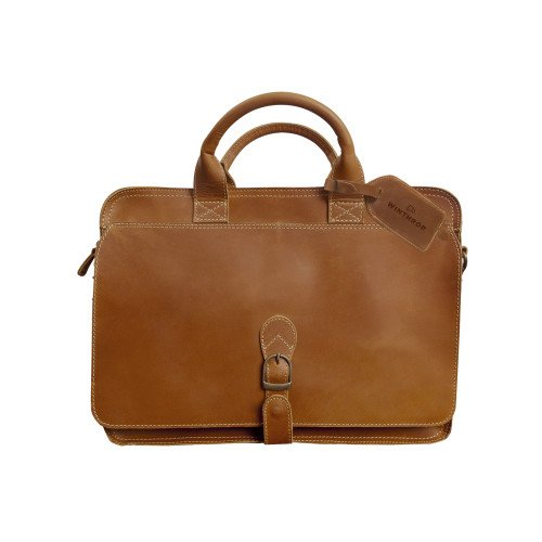 Winthrop Canyon Texas Tan Briefcase 'Primary Mark Engraved' by CollegeFanGear