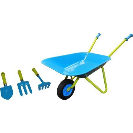 Enjoy Fun at the Backyard with G & F 10041 JustForKids Kids Wheel Barrel and Garden Tool Set,Blue,Designed for 3+ years old,Great Gift For Young Gardeners