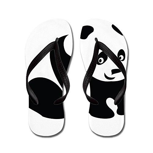 Cafepress Panda-1 - Slippers, Grappige Leren Sandalen, Strand Sandalen Zwart