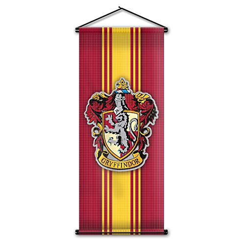 Harry Potter Style Striped Banner - Gryffindor Flag 43in x 16in - High Quality Wall Scroll - Ready to Hang - Perfect Barware Man Cave Gift - Unique HP Collectible Accessories