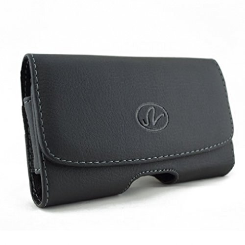 Black Horizontal Sideways Leather Case Phone Cover Holster with Belt Clip for T-Mobile Sharp Sidekick LX 2009