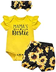 Catmama Newborn Baby Girl Romper Clothes Outfits Floral Ruffle Cute Toddler Baby Girl Clothes Set
