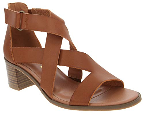 ond Criss Cross Strappy Heeled 7 Cognac Burnished ()