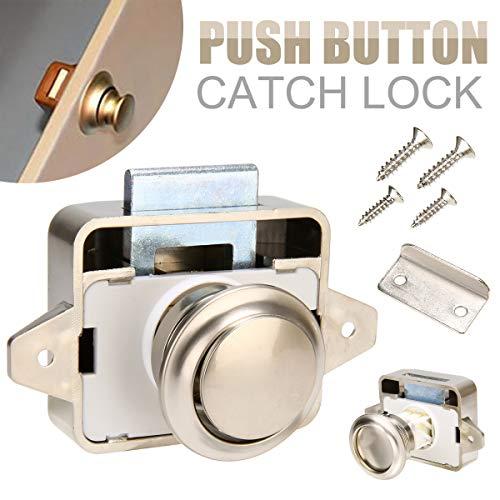 David Franklin - Drawer Cupboard Door Push Button Catch Lock Caravan Cabinet Motorhome Latch Knob Diameter 26mm
