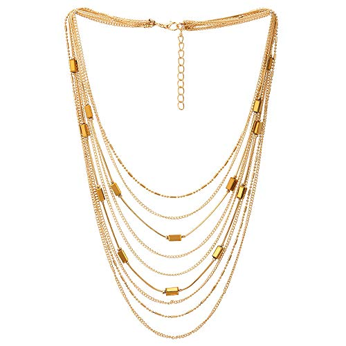 Dangle Multi Chain Necklace - COOLSTEELANDBEYOND Gold Statement Choker Collar Necklace Waterfall Multi-Strand Chain with Rectangle Crystal Bead Charm