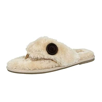 107294fed92d8 Ella Shoes Womens Rebecca Slippers Toe Post Faux Fur Flip Flops Memory Foam  spa House  Amazon.co.uk  Shoes   Bags