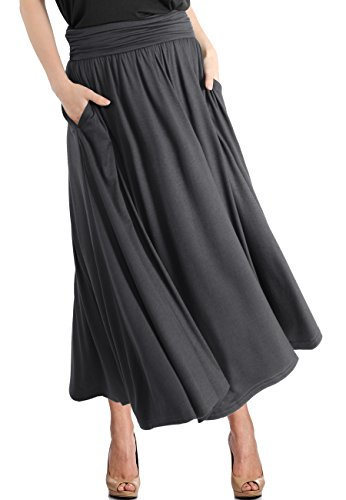 TRENDY UNITED Women's High Waist Fold Over Pocket Shirring Skirt ,Charcoal-ankle,Small