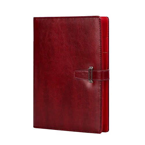 Leather Journal Organizer Planner Office Writing Notebook Refillable Diary a5 Spiral Binder Diary Red (Red Binders Executive)