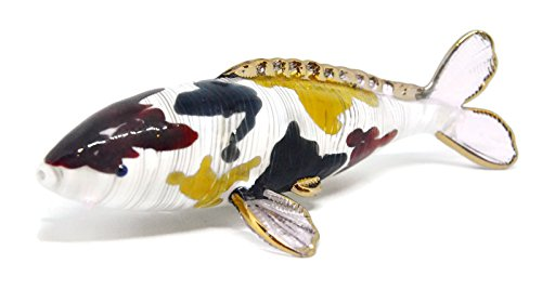 NaCraftTH Murano Glass Figurines Koi Fish Figure Japanese Carp Animal Pet Sculpture Feng Shui Home Decor Handmade Gifts