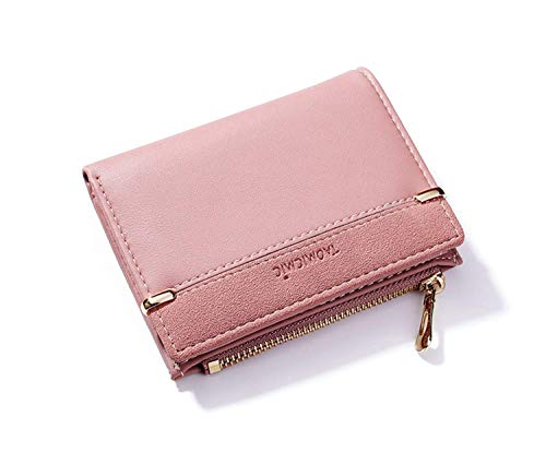 Small Wallets for Women Bifold Leather Short Wallet Lady Mini Purse Card Case Holder with ID Window (A-Pink) ()