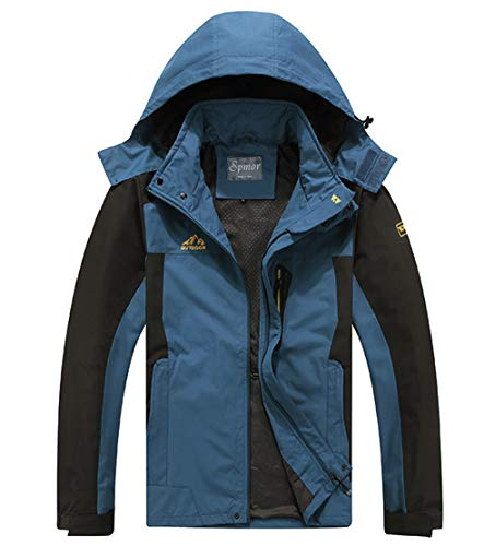 Spmor Men's Outdoor Sports Hooded Windproof Jacket Waterproof Rain Coat Dark Blue XX-Large