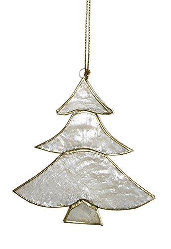 Coastal Beach Christmas Ornaments Decoration, 3 Capiz Christmas Trees 3.5