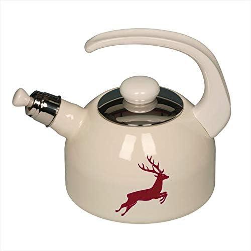 Hervidor de agua con silbato (2 L), diseño de ciervo, color rojo