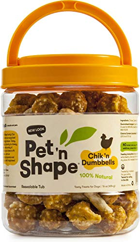 Pet 'n Shape Chicken Dog Treats, Chik 'n Dumbbells, 16 Ounce, 3 Pack