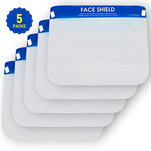 LENTIA Face Shield Protect Eyes and Face with Protective Clear Film Elastic Band and Comfort Sponge (5 Packs)