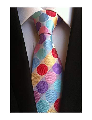 Men's Colorful Rainbow Polka Dots Ties Fashion Silk Bridegroom Wedding -