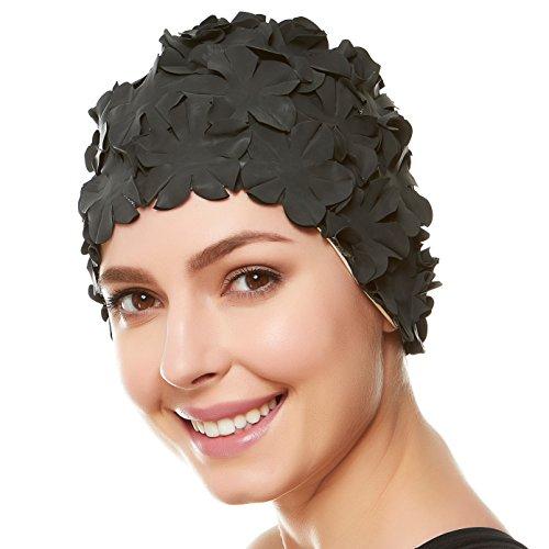 (Beemo Floral Petal Ladies Bathing Swim Cap - Black)
