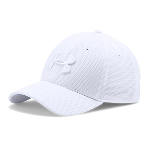 Road Baseball Hat - Under Armour Men's Blitzing II Stretch Fit Cap, White/White, Medium/Large