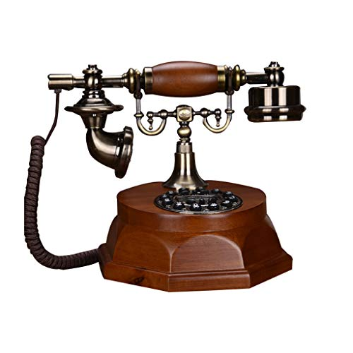 Dtmf Leather - Resin Copper Retro Style Landline, LCD, Fsk and Dtmf Caller Id, Automatic Detection, Silicone Button Suitable for School Office Use