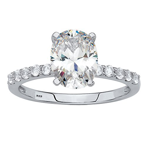 Sapphire Platinum Ring (Platinum over Sterling Silver Oval Cut Simulated White Sapphire Engagement Ring Size 8)