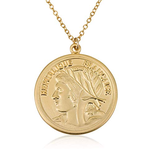 Coin Necklace, Coin Pendant Jewelry, Vintage Coin, Birthday Gift, Charm Necklace, Medallion - Vintage French Coin
