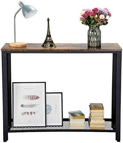 YAHEETECH Entry Way Console Table Metal and Wood Entry Table with Shelf Sofa Side Table for Living Room Bedroom Easy Assembly