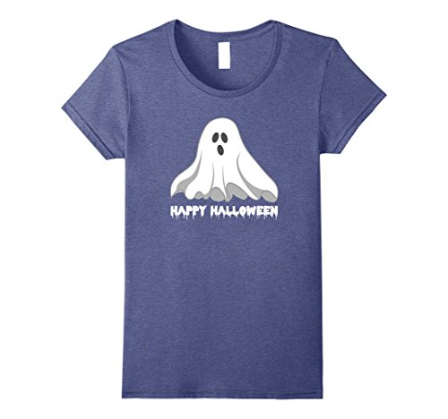 Womens Ghost Happy Halloween T-Shirt Shirt Tee - Costume Spooky XL Heather Blue (Halloween Food Wording)