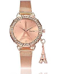 Fullfun MEIBO Women Eiffel Tower Stainless Steel Quartz Wrist Watch, Classic Buckle Closure (Rose Gold)