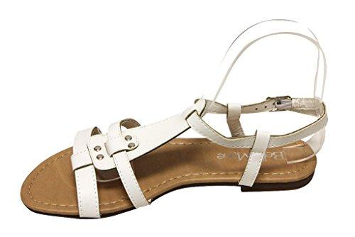 Bella Marie Maggie-11 Dames Open Neus Stud T-strap Slingback Verstelbare Gesp Enkelsandalen Wit