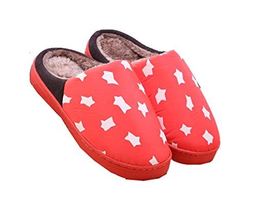 Blubi Womens En Peluche Coton Rayé Star Imprimer Chambre Chaussons Maison Chaussures Pastèque Rouge