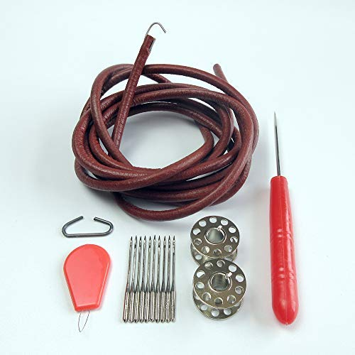 evernice 15 Parts Leather Belt+Needles+Bobbin+Awl+Thread Guide for Singer Sewing Machine