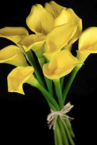 Wayhome Fair Real Touch Hand-Tied Yellow Calla Lily Wedding Bouquet 14