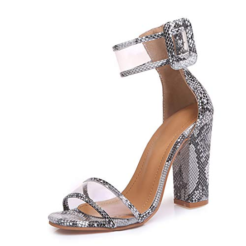 Women's Heeled Sandals Ankle Strap Block Chunky High Heel Open Toe Pump Sandals Transparent Serpentine-6.5