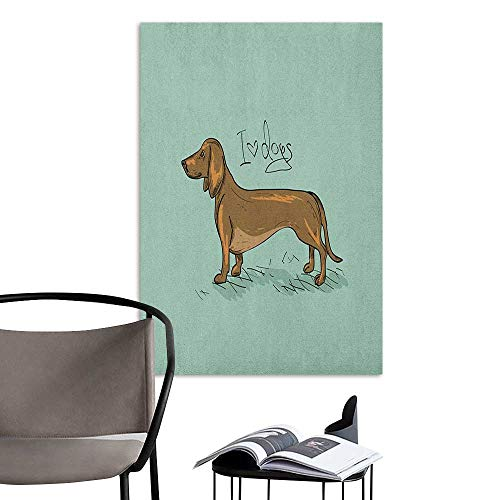 Waterproof Art Wall Paper Poster Dachshund Dachshund Puppy on an Abstract Turquoise Background Pure Breed Animal Turquoise Brown Black Removable Kitchen W8 x H10