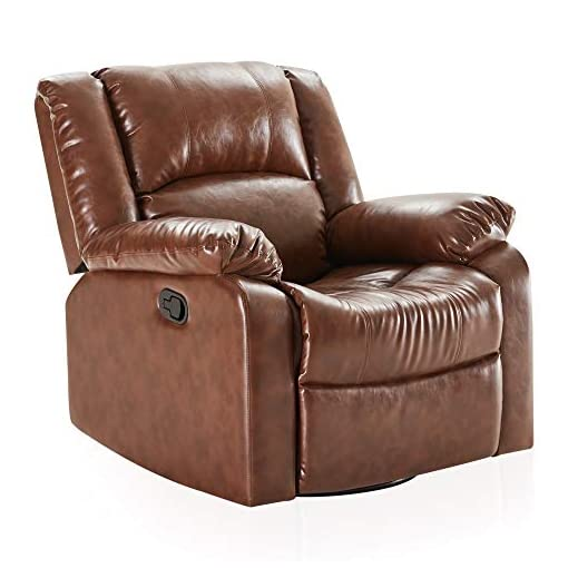 Living Room BELLEZE Faux Leather Rocker and Swivel Glider Recliner Living Room Chair, Caramel